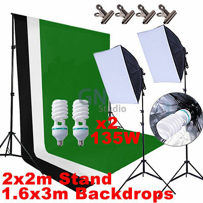 Photography Studio Softbox Continuous Lighting Soft Box Light Stand Backdrop Kit