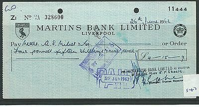 wbc. - CHEQUE - CH547- USED -1962- MARTINS BANK, LIVERPOOL