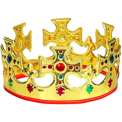 ORIGINAL Adjustable Gold King Crown Birthday Party Plastic Kings Costume Theater
