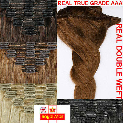 Extra Thick Double Weft 100% Remy Human Hair Extensions Clip In Full Head K732