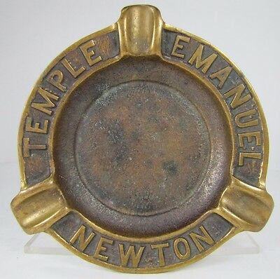 Old Bronze Temple Emanuel Newton Advertising Ashtray Richard Fine & Sons Boston