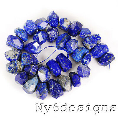 """16-21mm Natural Lapis Lazuli Faceted Nugget Beads 15"""" (LP43)f"""