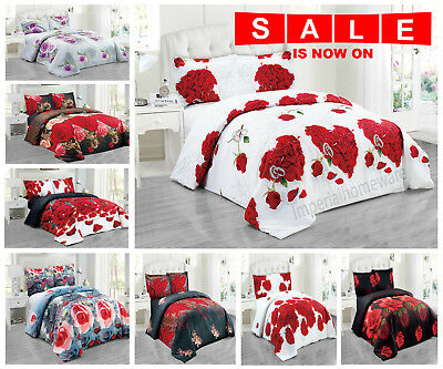 3D Duvet Quilt Cover Bedding Set +Pillow Cases Floral Flower Printed Half set