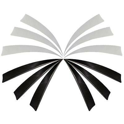 """50x Shield Feathers 5"""" Fletchings Right Wing Archery Hunting Arrows Black White"""