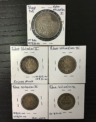 Lot of 5 German and Prussia Mark Coins 1906-1914