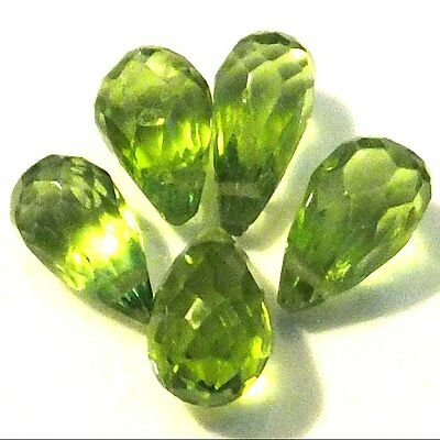 NATURAL PERIDOT LOOSE GEMSTONES BRIOLETTE CUT TOP CROSS DRILLED (2 pieces)