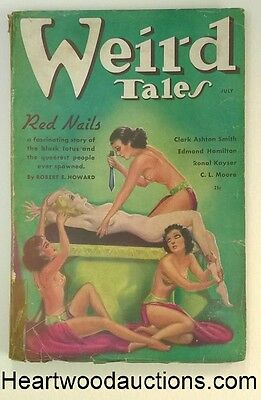 Weird Tales July 1936 R.E. Howard - Red Nails (Conan) Cvr Story