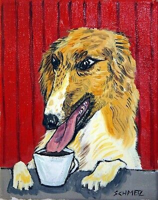 BORZOI dog coffee 11x14 signed art PRINT JSCHMETZ impressionism animals