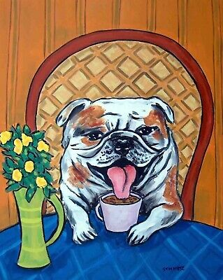 Bulldog at the coffee shop giclee Picture 13x19 signed glossy photo print
