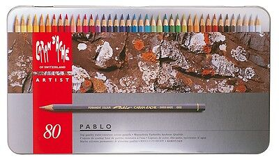 CARAN D'ACHE PABLO PERMANENT COLOURED PENCILS - Tin of 80 Assorted Colours