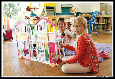 Barbie Doll Town House With Furniture Accessories Girls Playset