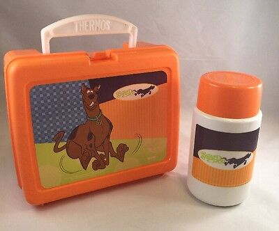 2001 Thermos Brand Scooby Doo Lunch Box And   Complete Thermos Bottle Orange
