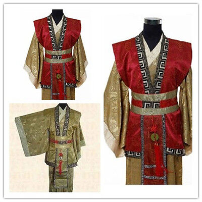Chinese Man Han Clothing Emperor Prince Show Cosplay Suit Robe Costume 2 Colors