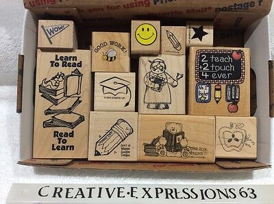 Lot Of 12 G/U Wood Mounted Rubber Stamps School Theme ExCond.