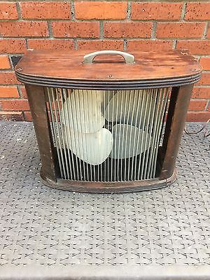 ANTQ ART DECO Mathes Cooler BOX FAN metal BLADES wood CABINET 1940s X'CLNT COND