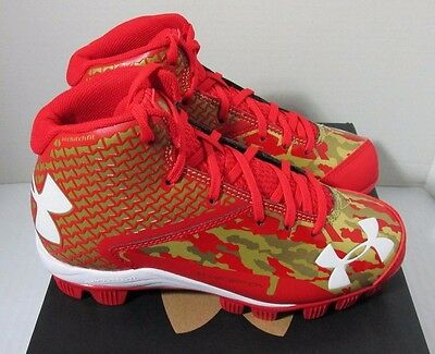 Under Armour Deception Mid RM Jr Youth Baseball Cleats Red & Gold Bryce Harper
