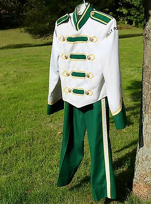 Vintage Band Uniform W/Pants Green & White Gold Detail Small Unisex Costume