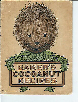 NC-100 - Baker's Cocoanut Recipes Cookbook Vintage 1911  Coconut, illustrated