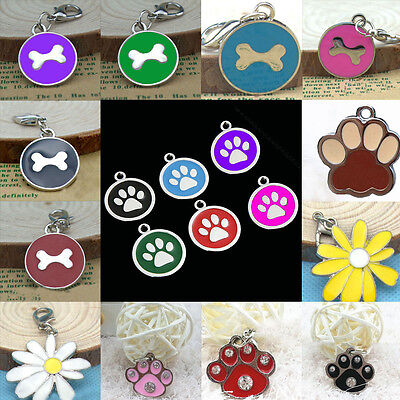 Lovely Zinc Alloy Collar Engraved Dog Cat Tags Round Pet ID Supplies Glitter Paw