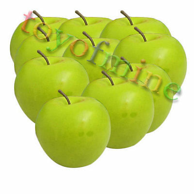 10 x high quality Artificial Green Apple Large Decorative Fruit Apples Fake