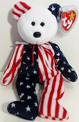 "TY Beanie Babies ""SPANGLE (White Face)"" PATRIOTIC USA TEDDY BEAR - MWMT! RETIRED"