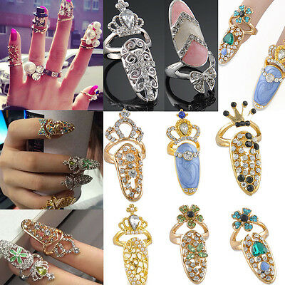Nice Women's Punk Crystal 3D Nail Art Midi Above Knuckle Band Finger Tip Ring
