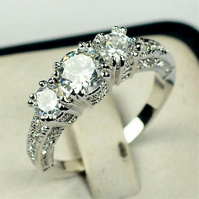 Hi Wedding White Gold Filled Ring Size 6-10 Sapphire 10K Engagement Gift Jewelry