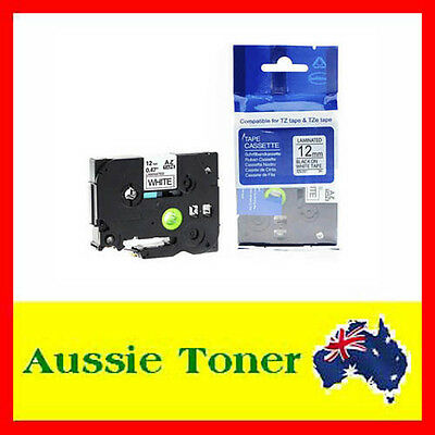 1x Laminated Label Tape For Brother TZe-231 TZ-231 P-Touch Black On White 12mm
