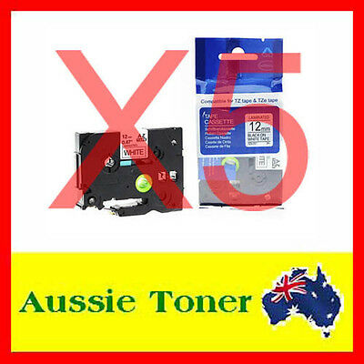 5x Laminated Label Tape For Brother TZe-231 TZ-231 Black Text On White 12mm x 8m
