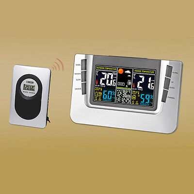 Wireless Weather Station Indoor Outdoor Thermometer Digital Alarm Clock NEW