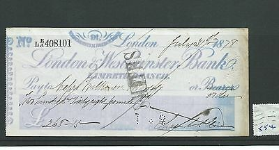 wbc. - CHEQUE - CH554- USED -1878- LONDON & WESTMINSTER, LAMBETH, LONDON scruffy