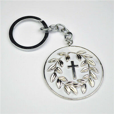 Religious Christian Holy Cross Silver Keyring for All Occasions