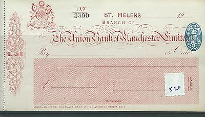 wbc. - CHEQUE - CH598- UNUSED -1920 - UNION BANK of MANCHESTER, ST HELENS + c/f