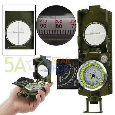 Professional Military Army Metal Sighting Compass clinometer Outside Camping AU