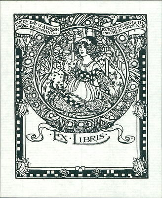 Decorative bookplate lady garden flowers border blank for personal use JD.66