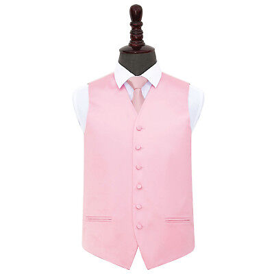 DQT Satin Plain Solid Baby Pink Mens Wedding Waistcoat & Tie Set S-5XL