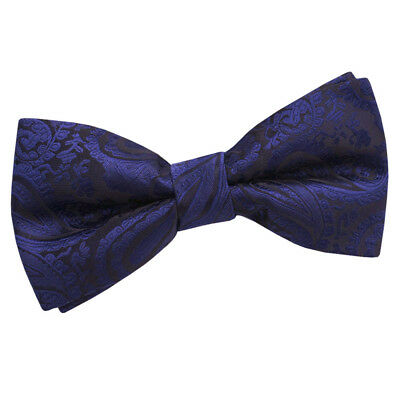 New Dqt Paisley Navy Blue  Mens Pre-Tied Wedding Bow Tie