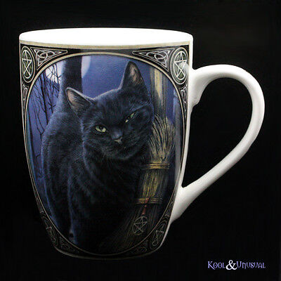 "Lisa Parker Bone China Mug Cup: ""A Brush With Magick"" Black Cat Pagan Wicca"