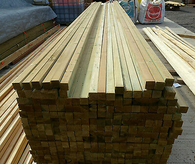 """£1.15 Per Metre 2""""x2"""" 45mm x 45mm A* Graded Tanalised PRESSURE TREATED Timber"""