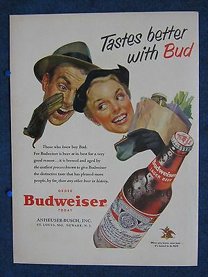 1953 Grocery Store Shoppers - Food Tastes Better With Budweiser Huge Bottle ~ Ad