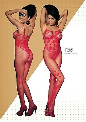 Obsessive Catsuit F205 Rot Body Stocking Nylon Sexy Ganzkörperstrumpfhose Offen