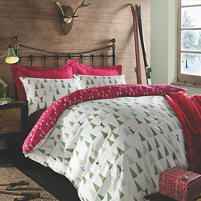 Christmas Duvet Cover Pillow Case Bedding Set Xmas Snowman Nordic Ski Red White