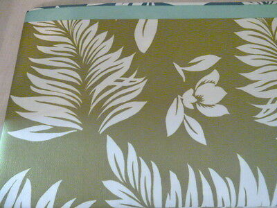 """Indoor Outdoor Tablecloth 60"""" x 84""""  Oblong Blue Green Floral Leaves Nature"""