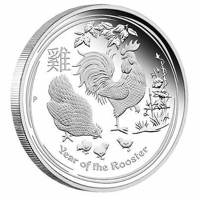 YEAR OF THE ROOSTER - AUSTRALIAN LUNAR SILVER COIN 2017 1 oz Proof Silver Coin