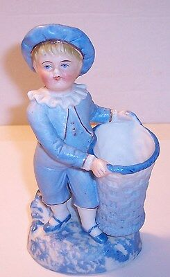 """vintage bisque porcelain boy in blue spill vase hand painted 6"""" very nice"""