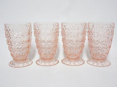 """4 Matching Pink Holiday Footed 4"""" Juice Tumblers / HTF / Jeannette Glass Co"""