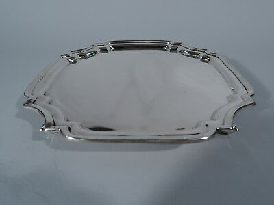 Traditional Salver - Square Cartouche Tray - English Sterling Silver - 1946