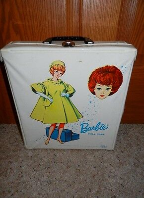 1963 Vintage Barbie Single Doll White Case Htf Yellow Coat Graphic