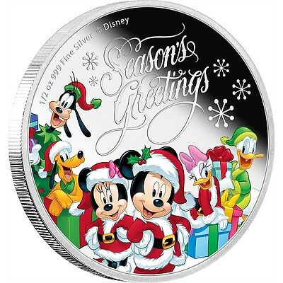 DISNEY SEASON'S GREETINGS MICKEY MOUSE AND FRIENDS 2016 1/2 oz Pure Silver Coin