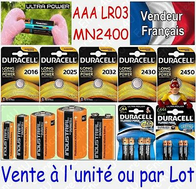 Piles DURACELL AAA LR03 LR3 MN2400 - Gamme Alcaline ULTRA POWER / TURBO MAX 1,5V